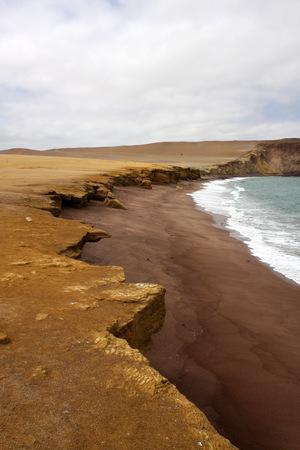 Cliff coast of Atacama desert near Paracas in Peru