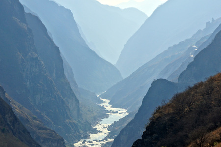 flood area sign: Tiger Leaping Gorge  hutiaoxia  near Lijiang, Yunnan Province, China