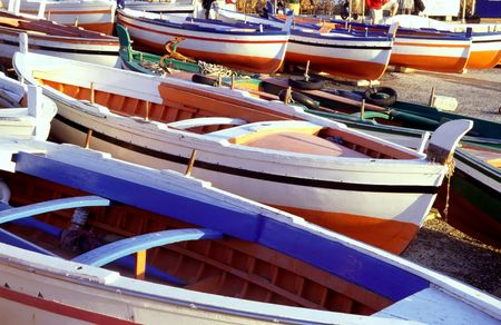 lipari: typical boats, lipari,aeolian islands