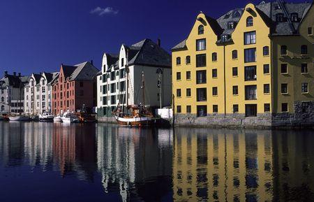 alesund: houses in the port of alesund