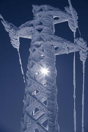 duotone: frost on pylon, duotone Stock Photo