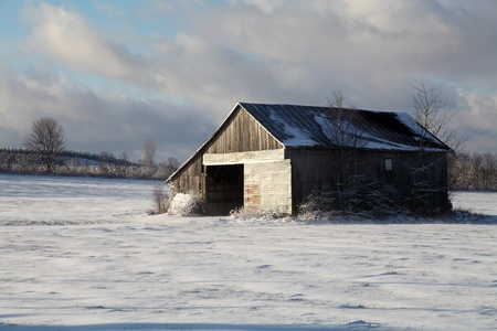 old barn in winter: Windy morning in the prairie