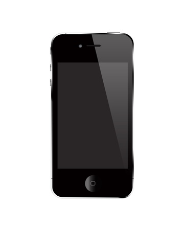 Render of closed touch screen cell phone against white background photo