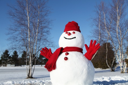 Snowman in his red outfit on a cold January morning Stock Photo