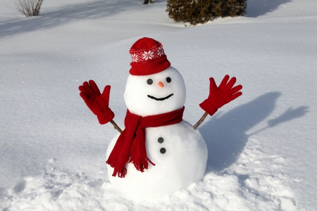 rural scenes: Snowman in red on a cold winter morning.