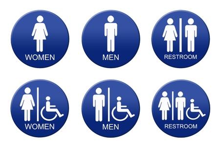 라운드 화장실 징후, 흰색 그림 및 텍스트에 파란색 그라데이션 배경. 스톡 콘텐츠 - 12535028