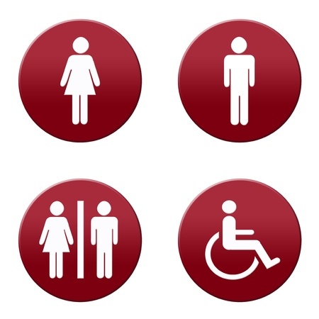 Round red and white restroom signs Stock Photo