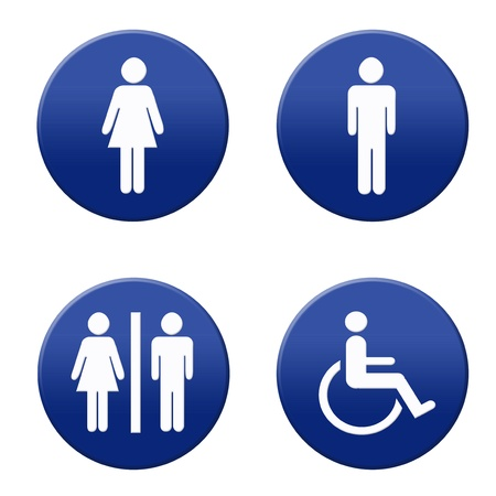 Round blue and white restroom signs Stock Photo