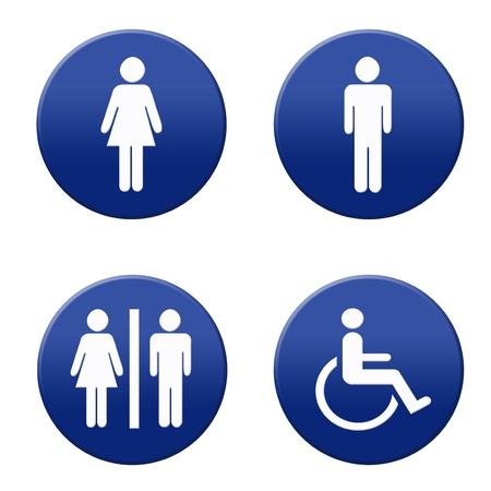Round blue and white restroom signs Reklamní fotografie