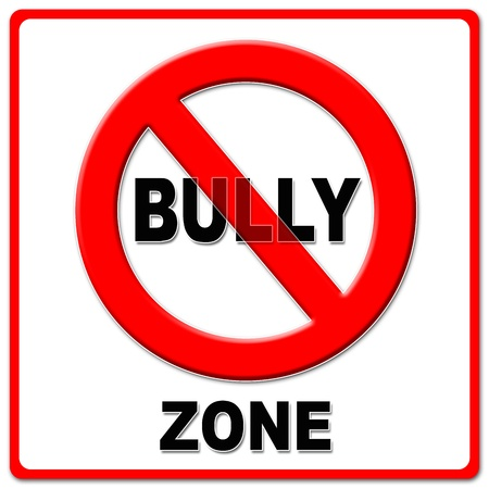 quit: No bully zone sign on white background.