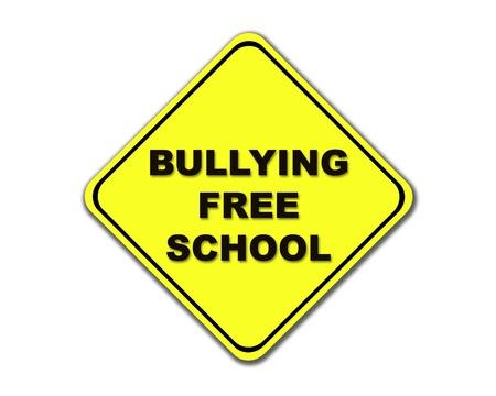Sárga Megfélemlítés Free School út, aláír, fehér alapon.