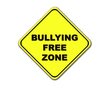 intimidating: Yellow bullying free zone road sign on white background.