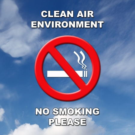 Clean air, no smoking sign in black and white text on a blue sky and cloud background.