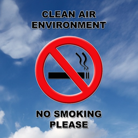 Clean air, no smoking sign in black and red text on a blue sky and cloud background.