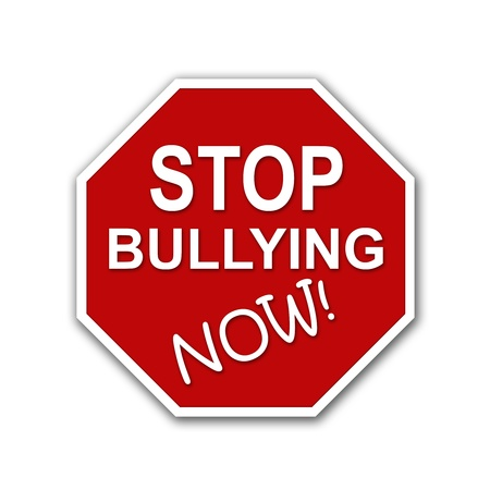 tease: Red and white Stop Bullying Now sign on a white background