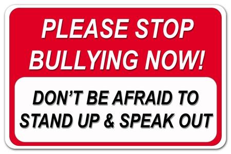 bulling: Por favor, dejar de intimidar letrero en fondo blanco Foto de archivo