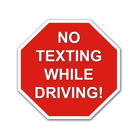 Red No Texting vezetés közben stoptábla, fehér alapon Stock fotó