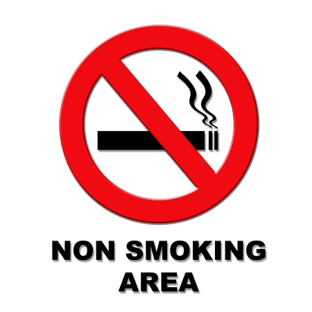 Black and red non smoking area sign on white background