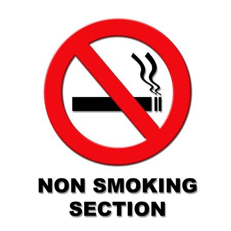 Nem dohányzó rész piros és fekete tábla fehér alapon Stock fotó