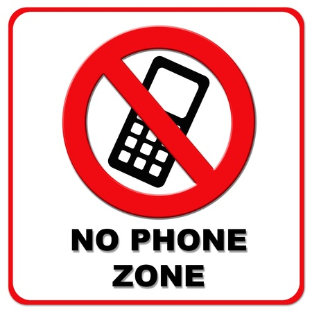 no cell phone: Black and red no phone zone on white background and red border Stock Photo
