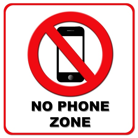 Black and red no phone zone sign with red border photo