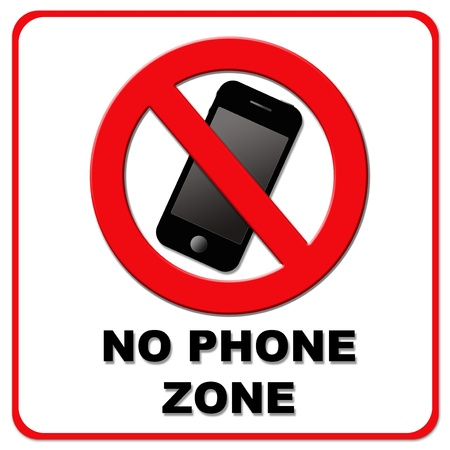 no cell phone: Black and red no cell phone zone on white background