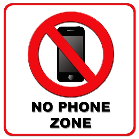 not permitted: Black and red No Phone Zone sign on white background
