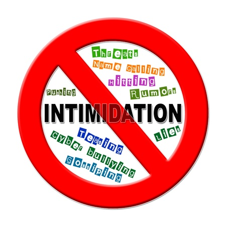 threat of violence: No intimidation sign with different words on a white background  Stock Photo