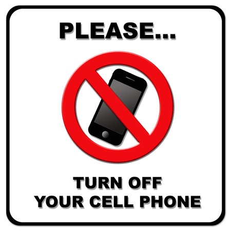 Please turn off your cell phone sign on white background photo