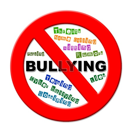 threat of violence: No bulling sign with different words on a white background Stock Photo