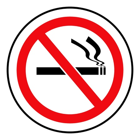 Red and black circular no smoking sign on white background  photo