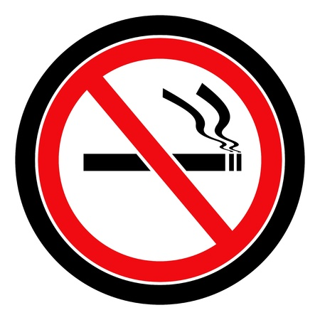 Black and red circular no smoking sign with black border on white background photo