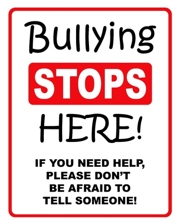 tease: Red and black bullying stops here sign on a white background  Stock Photo