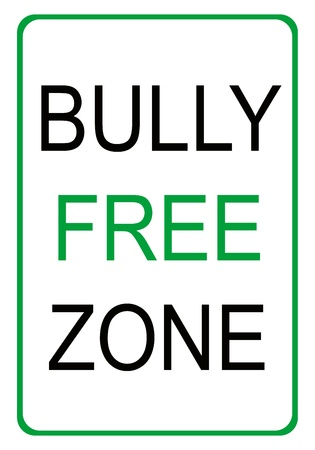 Black and green bully free zone sign with green border Stock Photo - 12586708