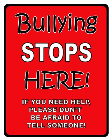 sign here: Black and red    Bullying stops here   sign
