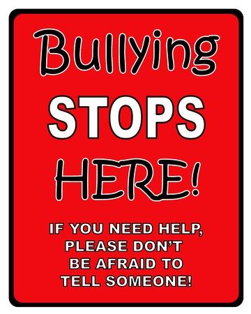 bulling: Para el bullying negras y rojas firmar aquí Foto de archivo