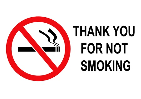 Thank you for not smoking   rectangular black and red sign  without border  photo