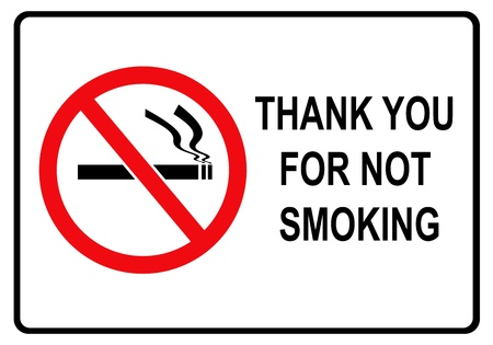 smoking stop:   Thank you for not smoking   rectangular black and red sign  with black border