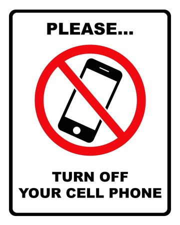 permitted: Black and red   turn off cell phone   sign with black border Stock Photo