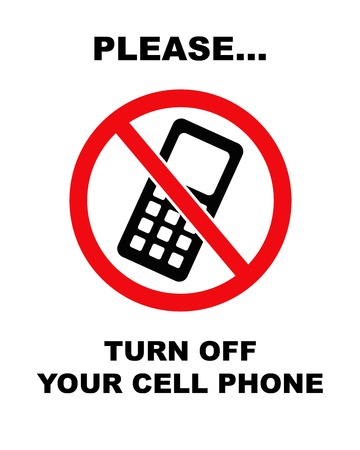 no cell phone: Black and red   Please turn off your cell phone   sign  no border  Stock Photo