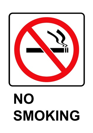 Black and red rectangle no smoking sign on white background photo