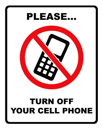 close to: Black and red   please turn off cell phone   sign with black border Stock Photo