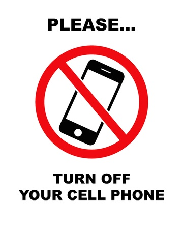 no cell: Black and red sign  Stock Photo