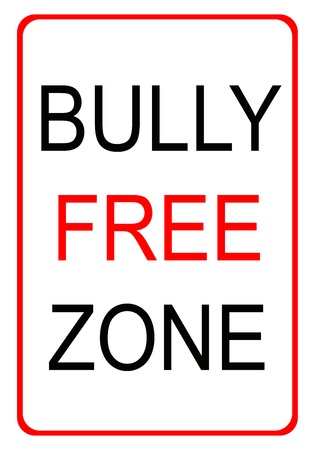 intimidating: Red and black bully free zone sign with red border