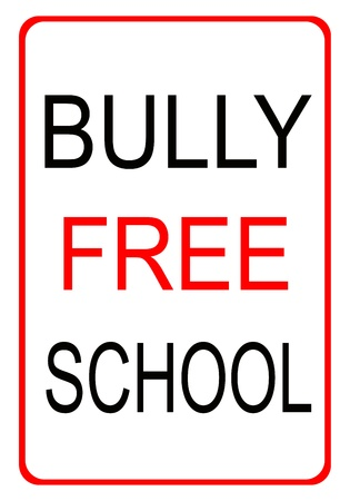 intimidating: Red and black bully free school sign with red border  Stock Photo