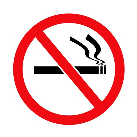 exclude: Red and black circular no smoking sign on white background  Stock Photo