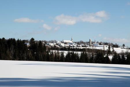 small country town: Small country town at a distance on a beautiful winter day