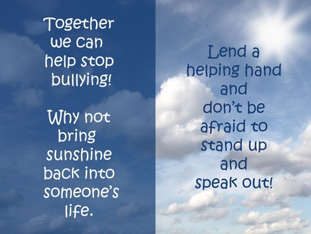 Together we can stop bullying sign