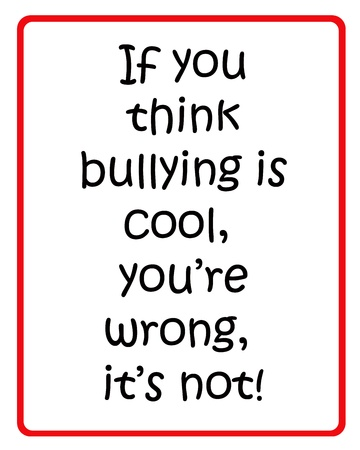 teasing: Red and black poster to stop bullying Stock Photo
