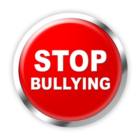 threat of violence: Red and white stop bullying press button